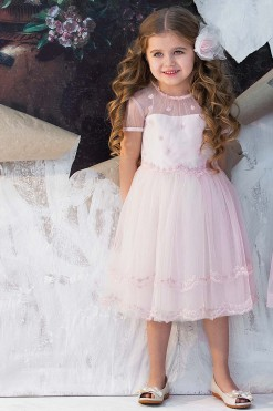 Pink cap sleeve ball gown with handmade embroidery from Papilio Kids Ceremony Collection