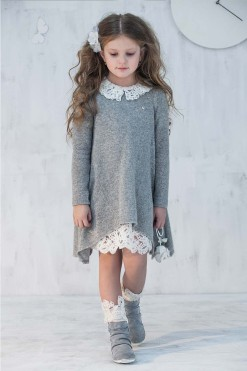 Set of Long sleeve dress and Knitted dress with lace collar from Papilio Kids Glamour Collection
