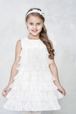 Sleeveless goffered fabric dress with handmade flower décor from Papilio Kids Ceremony Collection