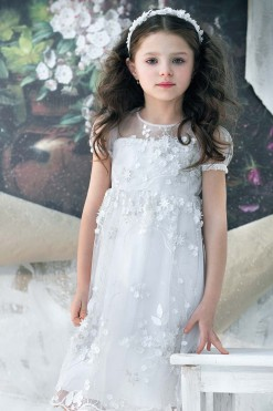 Tulle cap sleeve gown with handmade embroidery & beading from Papilio Kids Ceremony Collection