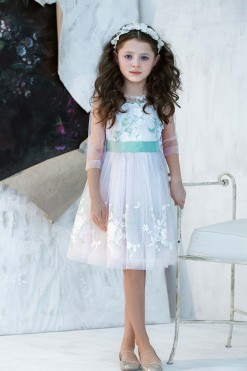 Pink knee length dress with handmade embroidery from Papilio Kids Ceremony Collection