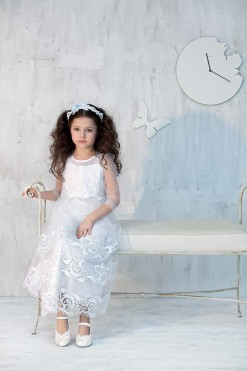 Tulle 3/4 length sleeve gown with lace embroidery from Papilio Kids Ceremony Collection