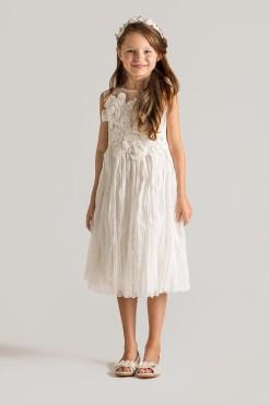 Chiffon dress with lace embroidery