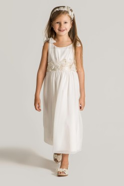 Tank chiffon gown with floral embroidery