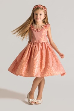 Jacquard A-line dress with handmade flower décor from Papilio Kids Glamour Collection