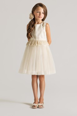 Knee length tank dress with lace peplum detail from Papilio Kids Ceremony Collection