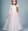 A-line tulle dress with 3/4 length illusion sleeves from Papilio Kids Ceremony Collection
