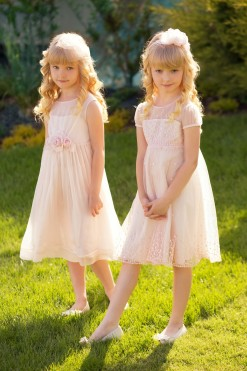 Pink cap sleeve dress embroidered with sequins from Papilio Kids Ceremony Collection
