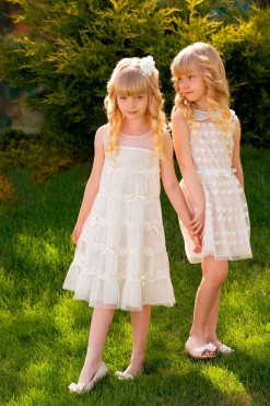 A-line tulle dress with lace and Heart print skirt with belt, and Heart print sleeveless blouse