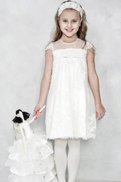 Cap sleeve dress with illusion neckline from Papilio Kids Ceremony Collection
