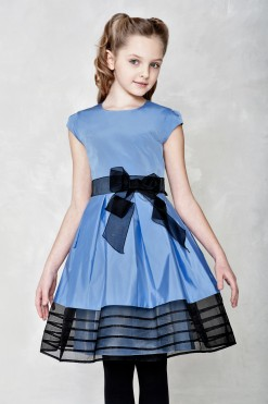 Taffeta ball gown with organza sash