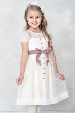 Cap sleeve dress with velvet bow from Papilio Kids Ceremony Collection
