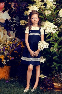 Two-piece top and dress outfit: Sleeveless dress with lace décor and top with lace from Papilio Kids Glamour Collection