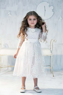 Lace ball gown with handmade flower décor from Papilio Kids Ceremony Collection