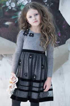 Long sleeve knitted dress with tulle skirt and handmade flower décor from Papilio Kids Glamour Collection