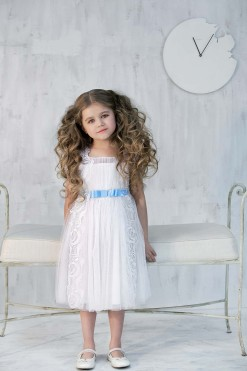 Tulle sleeveless dress with silk blue sash from Papilio Kids Ceremony Collection