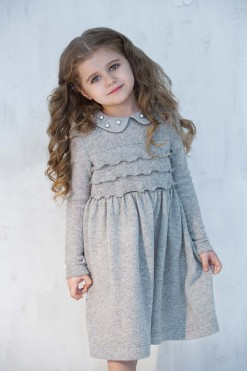 Long sleeve knitted dress with beads from Papilio Kids Glamour Collection