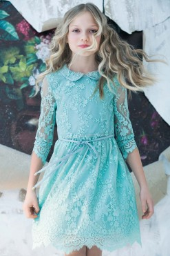 Lace knee length gown with 3/4 length illusion sleeves