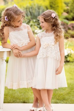 Special occasion dresses, Lace bodice dress and Tulle illusion neckline dress with lace border from Papilio Kids Ceremony Collection