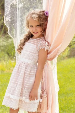 Striped organza dress with lace detail from Papilio Kids Ceremony Collection