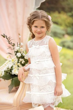 All over lace dress with organza overlay from Papilio Kids Ceremony Collection