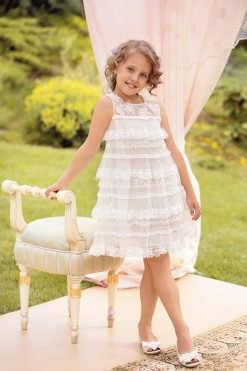 Sleeveless goffered tulle gown with handmade flower décor from Papilio Kids Ceremony Collection