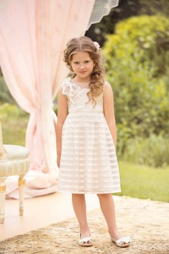 Striped silk organza dress with one shoulder bow from Papilio Kids Ceremony Collection