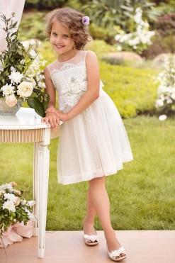 Lace bodice dress with handmade flower décor