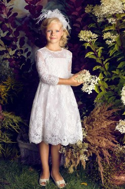 All over lace dress with 3/4 length illusion sleeves from Papilio Kids Ceremony Collection