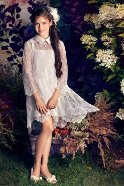 Knee length lace gown with 3/4 length illusion sleeves from Papilio Kids Ceremony Collection