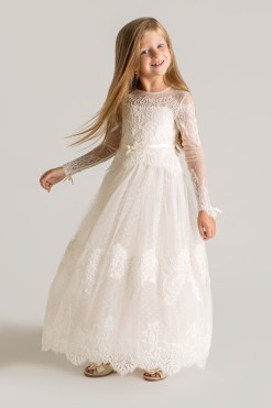 Lace A-line gown with illusion sleeves from Papilio Kids Ceremony Collection