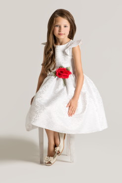 Tea-length dress with handmade flower décor from Papilio Kids Ceremony Collection