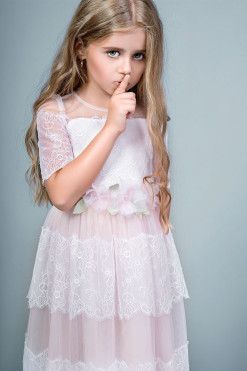 A-line lace and tulle dress with handmade flower decor from Papilio Kids Ceremony Collection