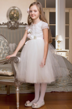 Tutu dress with cup sleeves and handmade flower decor from Papilio Kids Ceremony Collection