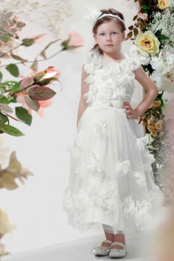 Flower girl dress with 3D handmade flowers from Papilio Kids Ceremony Collection