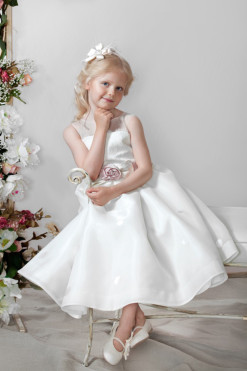 Organza A-line dress with lace bodice and handmade flower belt from Papilio Kids Ceremony Collection