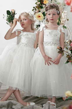 Tutu dress with atlas draped bodice and embroidery from Papilio Kids Ceremony Collection