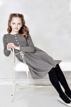 Knitted dress with long sleeves and buttons on the bodice from Papilio Kids Glamour Collection