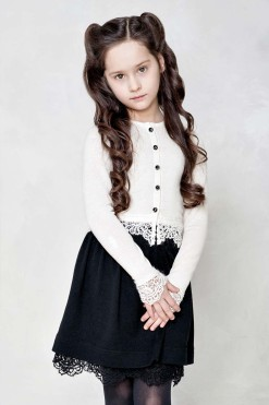 Knitted cardigan with skirt with lace outfit from Papilio Kids Glamour Collection