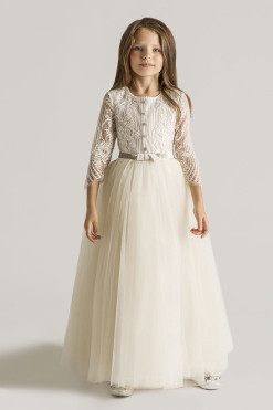 Floor length A-line dress with lace bodice from Papilio Kids Ceremony Collection