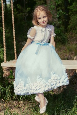 Ball gown with illusion cup sleeves and 3D flower embroidery from Papilio Kids Ceremony Collection
