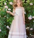 A-line gown with lace embroidery and handmade flower decor from Papilio Kids Ceremony Collection
