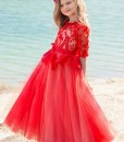 Red lace bodice ball gown with 3/4 length sleeves from Papilio Kids Ceremony Collection