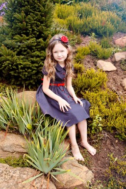 Dark blue dress with red buttons from Papilio Kids Glamour Collection