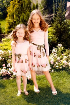 Cup sleeve dress with Two-piece set: Tulle embroidered skirt and Pink long sleeve blouse from Papilio Kids Glamour Collection