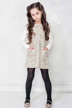 Sleeveless Boucle dress embroidered with sequins from Papilio Kids Glamour Collection