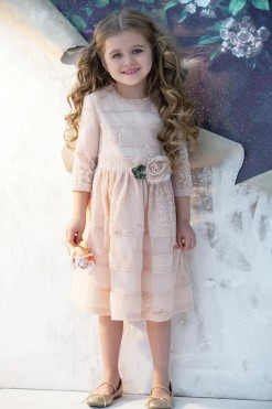 Pink dress with 3/4 length sleeves, lace and flower decor from Papilio Kids Glamour Collection