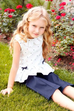 Two-piece matching set: Shorts with pockets and Sleeveless printed blouse from Papilio Kids Glamour Collection