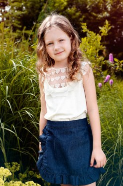 Two-piece top and skirt set, Blue cotton skirt and Illusion neckline knitted top from Papilio Kids Glamour Collection