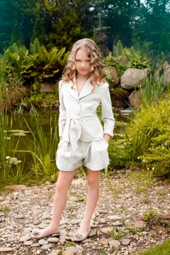 Two-piece matching set, Cotton shorts with pockets and Cotton jacket with belt from Papilio Kids Glamour Collection